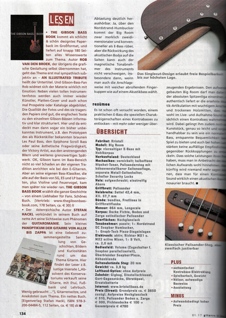 Press, Gitarre & Bass review, The Gibson bass Book