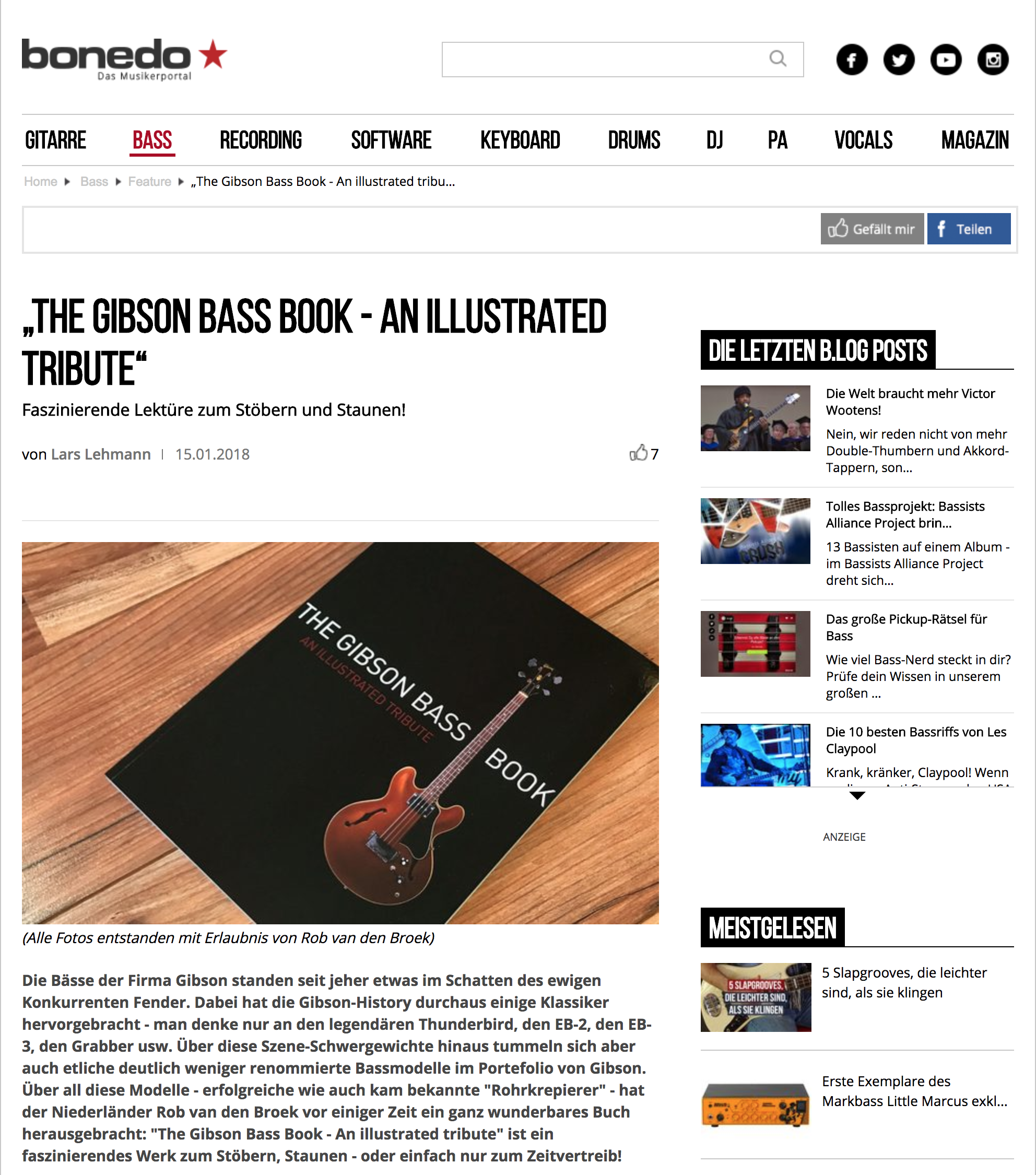 Bonedo review of The Gibson Bass Book. By Lars Lehmann