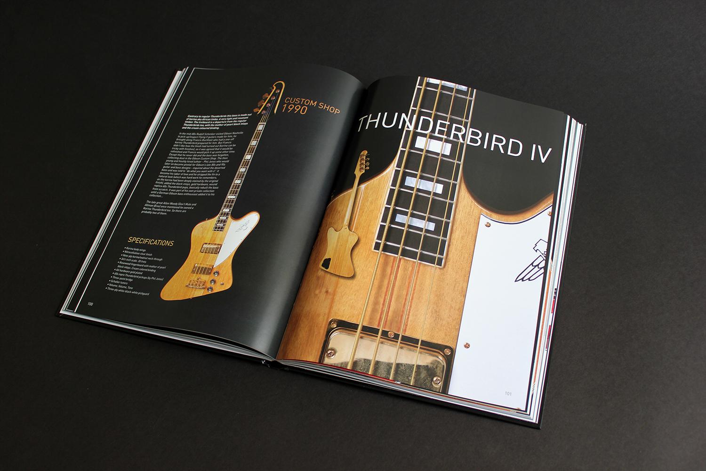 Spread about a Korina Custom Shop Thunderbird in The Gibson Bass Book